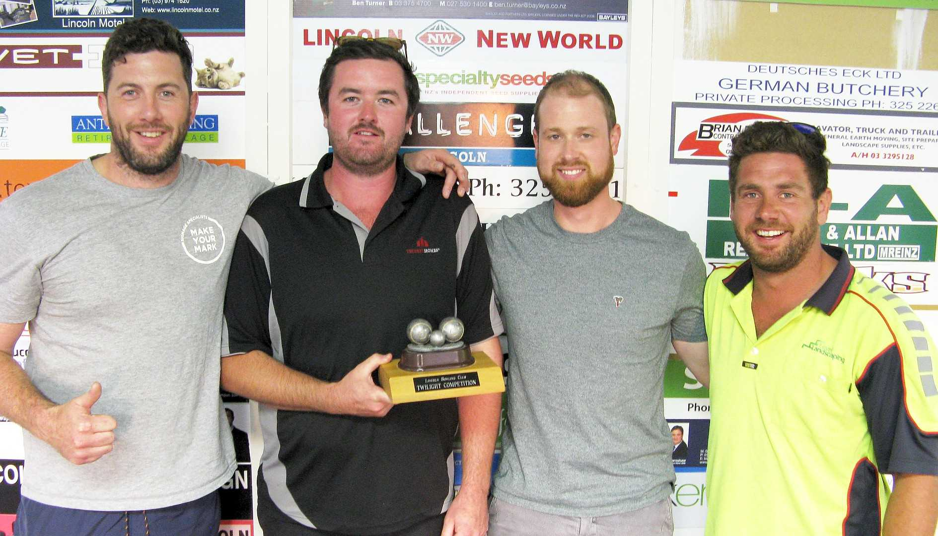 Community Bowls 2020 - The Overall Winners 'Stanza 1' (Mark, Ollie, Tom & Brodie).