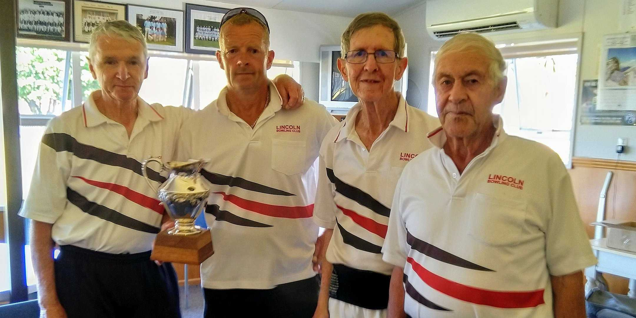 Ellesmere Mixed Fours Winners - Michael Begg, Martin Rowson(s), Mundy Carroll and Lynton Withell