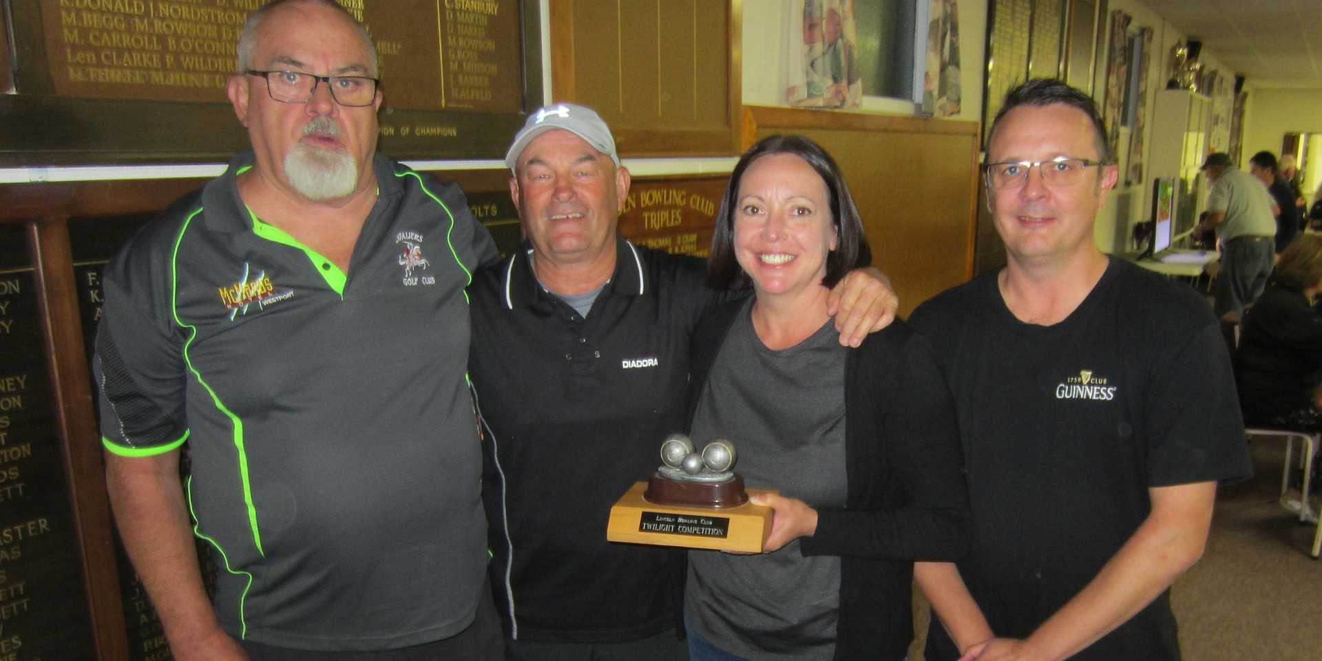 The Overall Winners of Community Bowls 2021 - 'Grifinator' : Allan Rolton, Geoff Griffiths, Megan Smith & Chris Smith