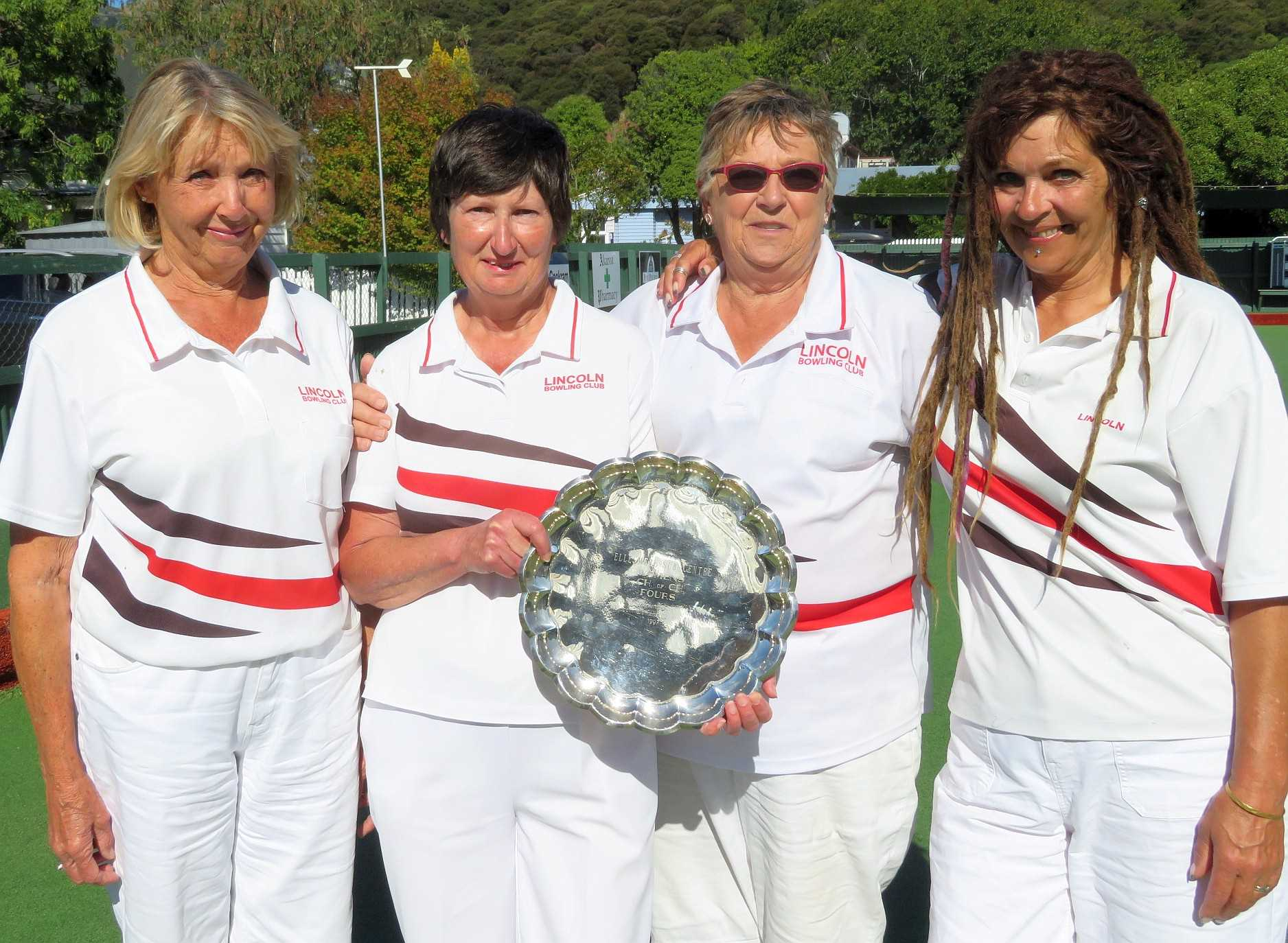 Winners of the Ellesmere Ladies Champion of Champions - Norma Read (for Isabel Moore), Lois Begg(s), June Armstrong & Jayne McKay.