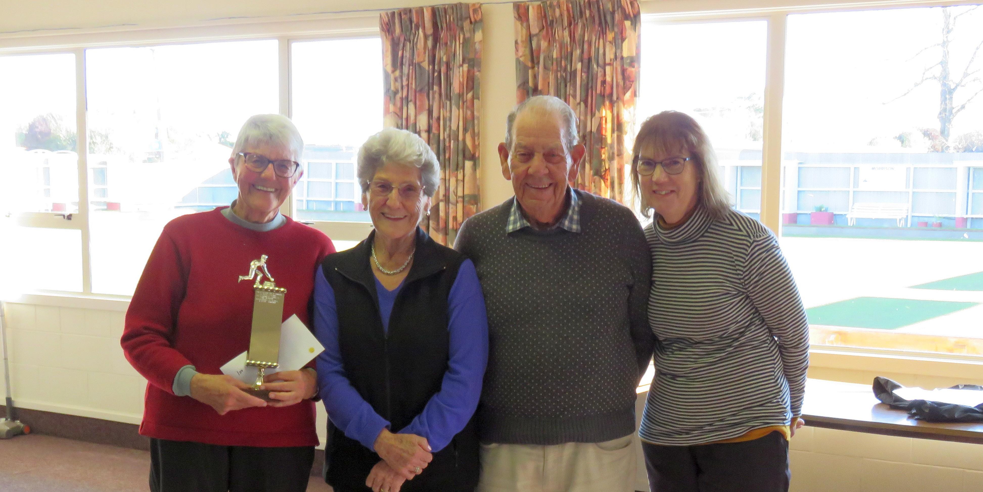 Indoor Bowls Trophy Winners - : Margaret McDrury(s), Ady Duncan, Mark England, Barbara Wilson
