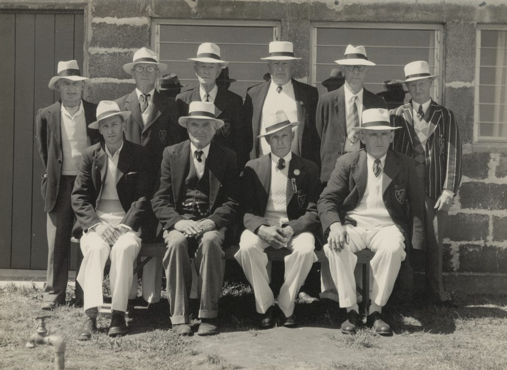 The 1947 Foundation Members of Lincoln Bowling Club (photographed in 1952)